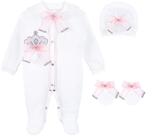 Lilax Baby Girl Jewels Crown Layette 3 Piece Gift Set 0-3 Months Pink
