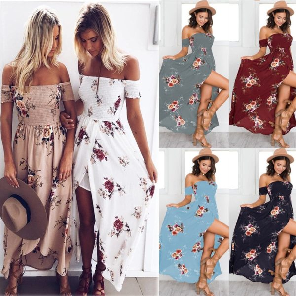 Lossky 18 New Women Sexy Side Split Summer Dress