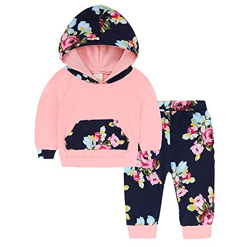 Popshion Baby Girls Floral Hoodie+ Floral Pant Set Leggings
