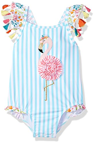 Mud Pie Baby Girls Flamingo Tassel One Piece Swimsuit