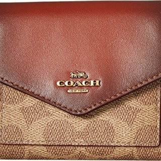 COACH Women's Small Wallet in Color Block Coated Canvas Signature