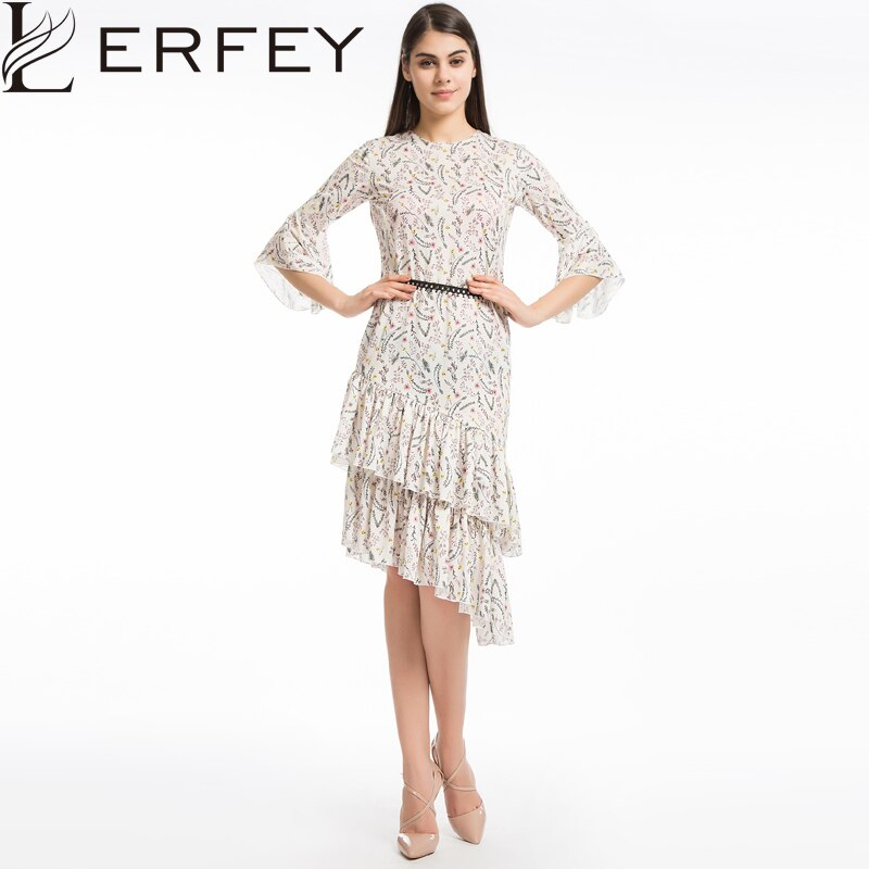 LERFEY Women Elegant Boho Floral Print Beach Summer Dress