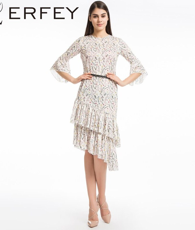 LERFEY Women Elegant Boho Floral Print Beach Summer Dress