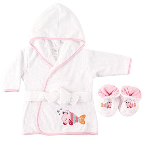 Luvable Friends Woven Terry Baby Bath Robe with Slippers, Fish