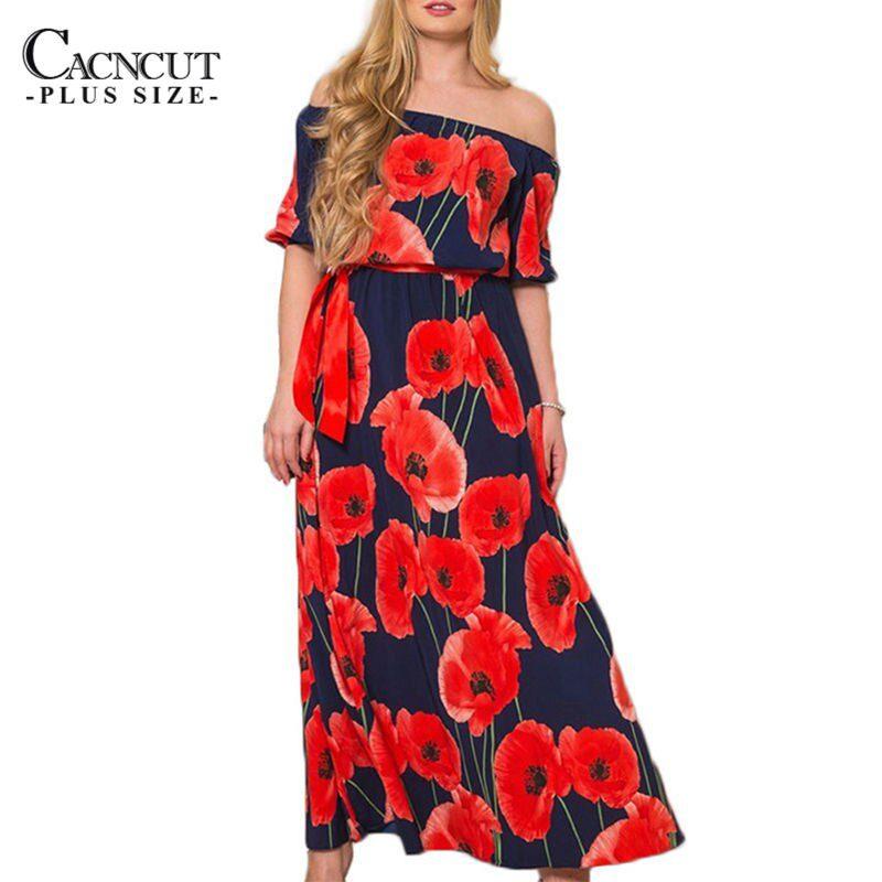 Women Plus Size Flower Print Long Dress Maxi Big Large size