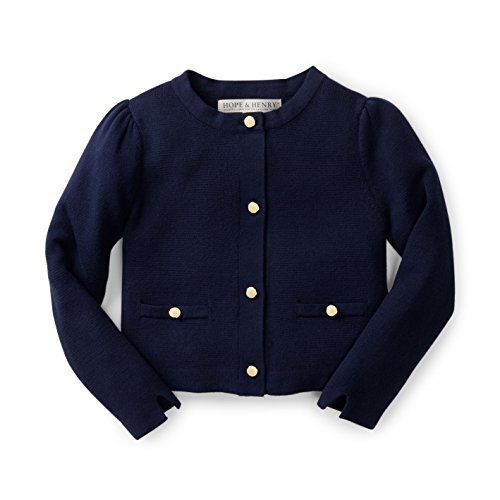 Hope & Henry Girls' Navy Milano Stitch Cardigan
