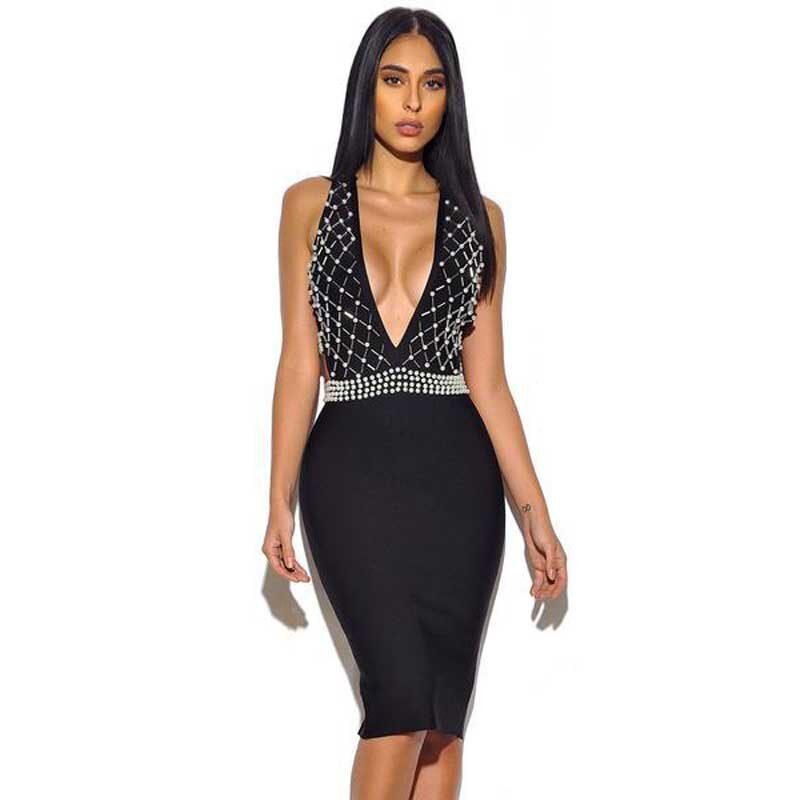 wholesale New style dress black Deep V-neck