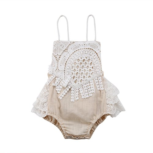 Newborn Infant Baby Girl Clothes Lace Halter Backless Jumpsuit