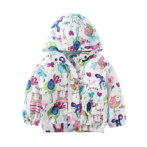 Mud Kingdom Toddler Jackets for Girls 24 Months Cute Animal Pattern White