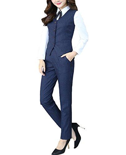 MFrannie Womens Stripes Blouse Pants Vest 3-Pieces