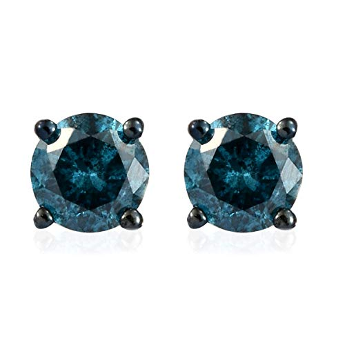 Round Blue Diamond Stud Solitaire Earrings Sterling Silver