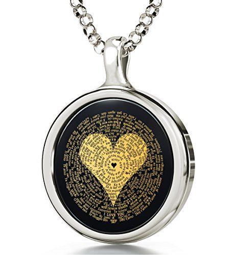 Nano Jewelry 14k White Gold I Love You Necklace