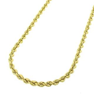 14K Gold 2.5MM 3MM 4MM Diamond Cut Rope Chain Necklace