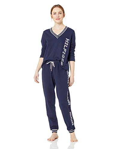 Tommy Hilfiger Women's Logo Long Sleeve Tee and Jogger Pant