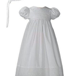 White Cotton Christening Baptism Gown with Lace Border