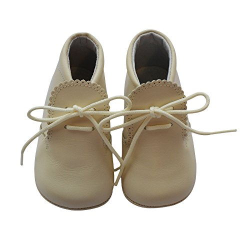 Baby Boys Shoes Leather Soft Sole Shoes w/Laces - Beige