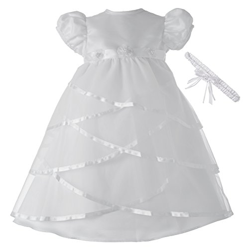 Lauren Madison Baby-Girls Newborn Satin Criss Cross Design Dress Gown