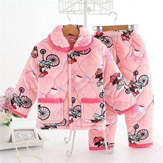 Uisex-Kids Thicken Coral Velvet Pullover Pajamas Set