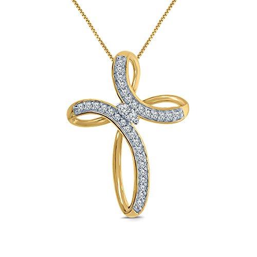 1/10ct Round White Natural Diamond 10K Yellow Gold