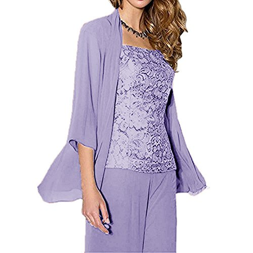 WHZZ Womens 3 Pieces Chiffon Mother of The Bride Dress