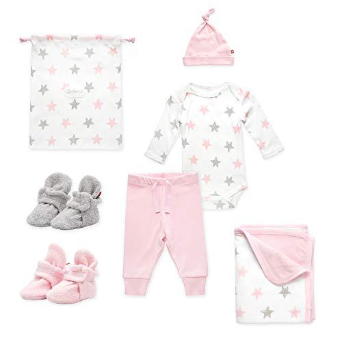 Zutano Baby Booties Gift Set, Stars 6pc, Baby Pink