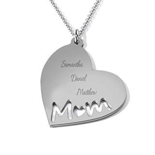 TSD 14K White Gold Mom's Heart Engravable Necklace