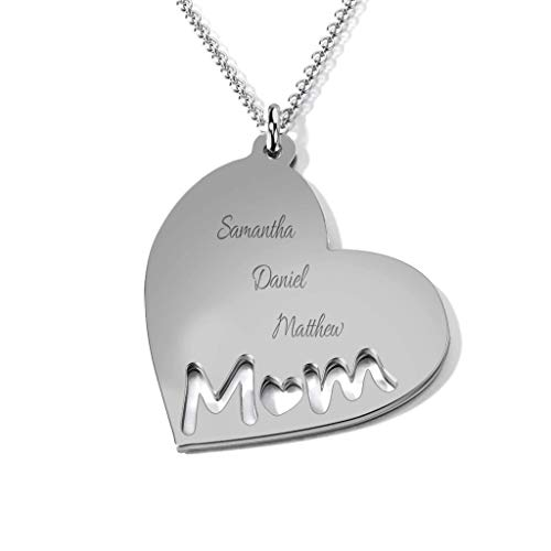 TSD 14K White Gold Mom's Heart Engravable Necklace