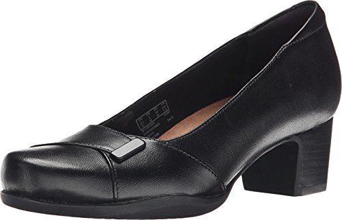 CLARKS Women's Rosalyn Belle, Black Leather, 9 EE