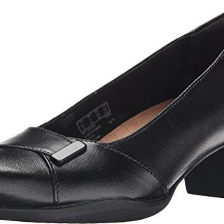 CLARKS Women's Rosalyn Belle, Black Leather, 9 EE