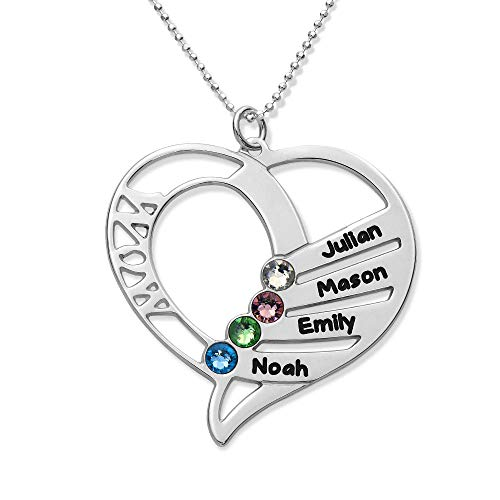 Engraved Mom Necklace Made with Swarovski Crystals-Heart Pendant
