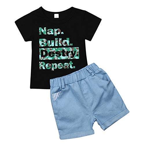 Baby Boys 2Pcs Outfits Letter Print T-Shirt Short Sleeve Top + Shorts Pant Clothes