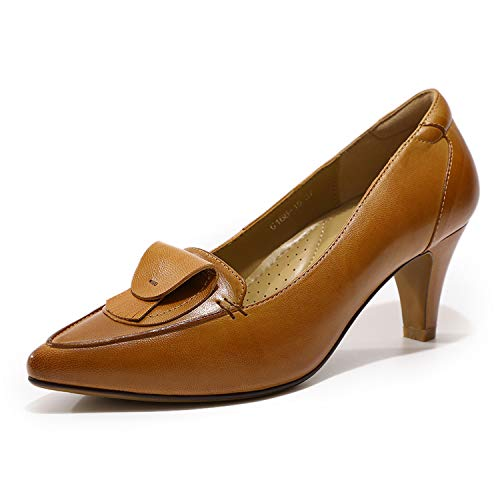 Mona flying Womens Leather Pumps Dress Shoes High Heels