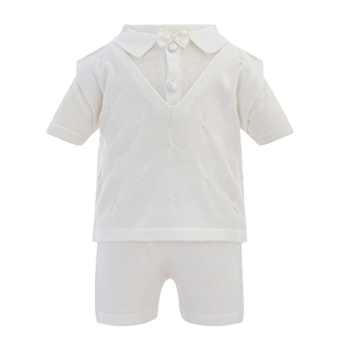 Boutique Collection Elegant Baby Boy Short Sleeve 2 Piece Christening