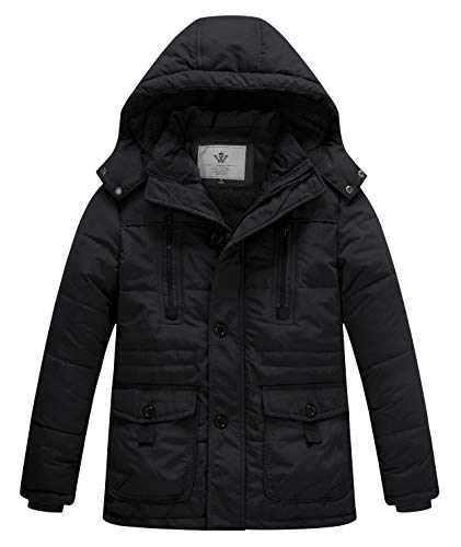 WenVen Boy's Winter Thicken Warm Coat Padded Zipper Hooded