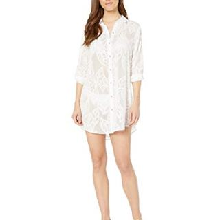 Lilly Pulitzer Women's Natalie Coverup, Resort White Vertical Leaf