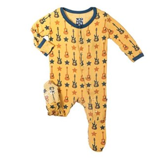 KicKee Pants Fitted Boys Footie Pajama- Fuzzy Bee Guitars