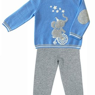 Gia John Cashmere Baby Boy Sweater Pants Set Cashmere Blue
