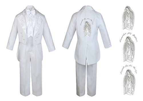 Baby Boy Kid Christening Baptism Church White Tail Suit Mary Maria