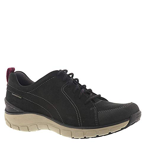 CLARKS Womens Wave Go Sneaker, Black Nubuck/Leather Combi