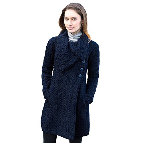 Collar Aran Coat With Button Navy, Small