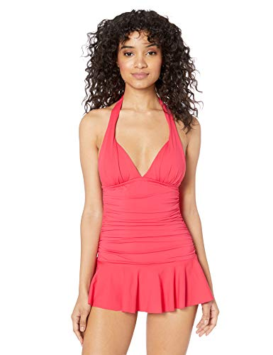 Chaps Women's Rouched Front Skirted Halter One Piece Swimsuit