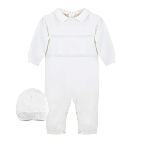 Baby Boys' Christening Coverall with Diamond Stitching