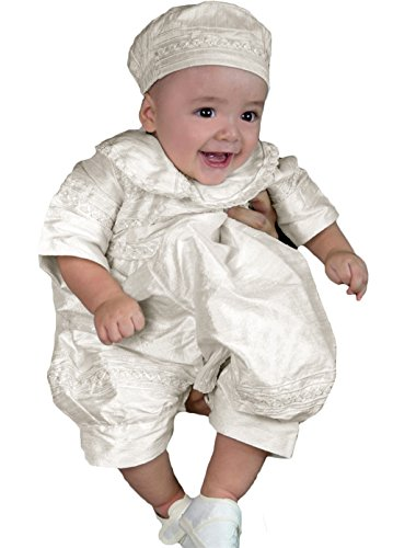 Newdeve Baby-Boys White Christening Baptism Outfit Bonnet