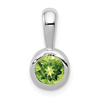 14k White Gold .55 Green Peridot Pendant Charm Necklace