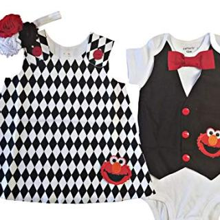 Perfect Pairz Boy Girl Twin Outfits Elmo Set USA Made
