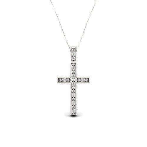 IGI Certified 1/20ct TDW Sterling Silver Diamond Cross Necklace