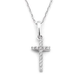 Beauniq 14k White Gold Cubic Zirconia Tiny Cross Pendant Necklace