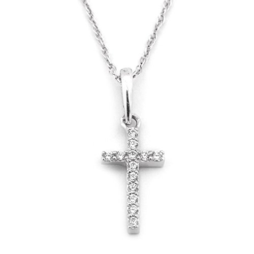 Beauniq 14k White Gold Cubic Zirconia Tiny Cross Pendant Necklace