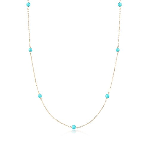 Ross-Simons Italian 4mm Turquoise Station Necklace