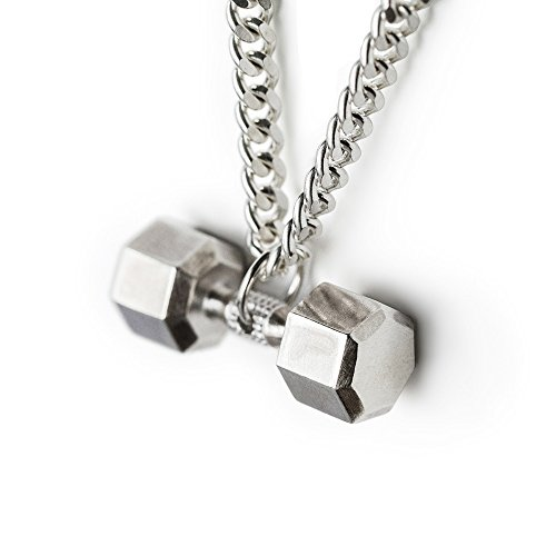 Dumbbell Necklace Sterling Silver Seven Sided Dumbbell Pendant